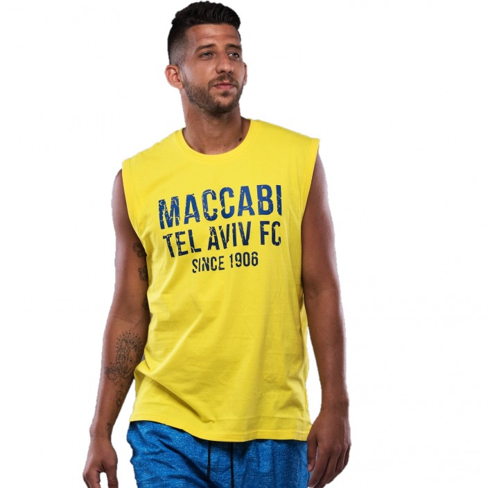 Men Yellow Sleeveless Shirt